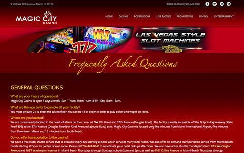 Screenshot of FAQ Page magiccitycasino.com - Magic City Casino - Frequently Asked Questions - captured Nov. 18, 2015