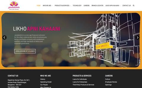 Screenshot of Home Page janalakshmi.com - Home - Janalakshmi - captured Sept. 6, 2015