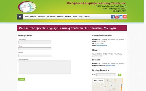 Screenshot of Contact Page Hours Page sllcenter.net - Contact the Michigan Speech Language Learning Center - captured March 15, 2016