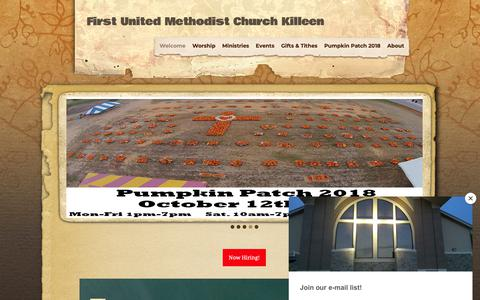 Screenshot of Home Page fumckilleen.com - Home - First United Methodist Church Killeen - captured Oct. 10, 2018