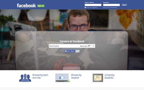 Screenshot of Jobs Page facebook.com - Facebook Careers | Facebook - captured Dec. 17, 2014
