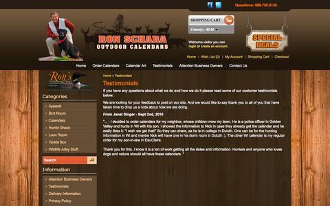 Screenshot of Testimonials Page outdoorcalendars.com - Outdoor Calendars Testimonials - captured Nov. 5, 2014