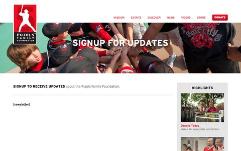 Screenshot of Signup Page pujolsfamilyfoundation.org - Newsletter | Pujols Family Foundation - captured July 18, 2016