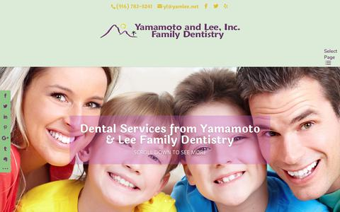 Screenshot of Services Page rosevillefamilydentist.com - Services provided at Yamamoto and Lee, RosevilleFamilyDentist.com - captured Oct. 2, 2018