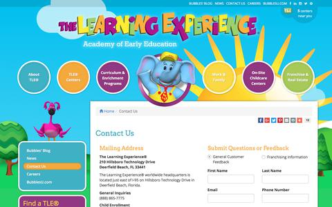 Screenshot of Contact Page thelearningexperience.com - Contact Us | The Learning Experience® - captured Jan. 15, 2018