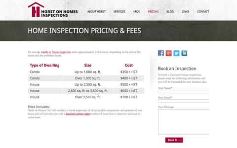 Screenshot of Pricing Page horstonhomes.com - Home inspection pricing & fees » Vancouver Home Inspectors with Horst on Homes - captured Oct. 2, 2014