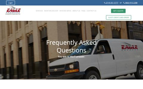 Screenshot of FAQ Page eagleexpress.com - Eagle Express Dallas Couriers | Dallas Delivery Services - captured Sept. 26, 2018