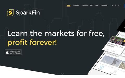 Screenshot of Home Page sparkfin.com - Home - SparkFin - captured Feb. 28, 2016