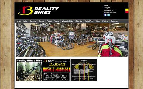 Screenshot of Menu Page realitybikes.com - Reality Bikes - Home - captured Sept. 30, 2014