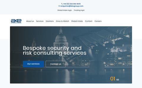 Screenshot of Home Page akegroup.com - Home - AKE International - captured Feb. 21, 2020