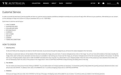 Screenshot of Support Page vm-australia.com.au - Customer Service - captured Dec. 2, 2016