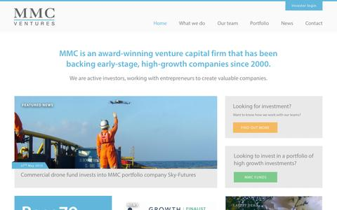 Screenshot of Home Page mmcventures.com - MMC Ventures - captured Aug. 2, 2015