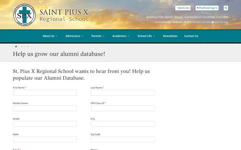 Screenshot of Signup Page stpiusbowie.org - St. Pius X Regional School :: Help us grow our alumni database! - captured Feb. 24, 2018