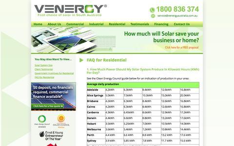 Screenshot of FAQ Page venergyaustralia.com.au - FAQ for Residential   Venergy Australia - captured Oct. 9, 2014