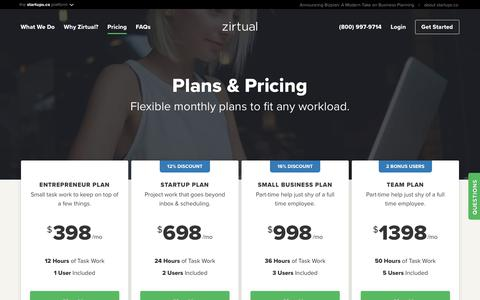 Screenshot of Pricing Page zirtual.com - Hire a Virtual Assistant | Pricing & Packages | Zirtual - captured July 13, 2018