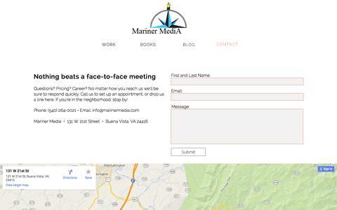 Screenshot of Contact Page marinermedia.com - Contact - captured Dec. 22, 2015