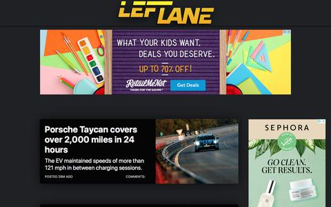 Screenshot of Home Page leftlanenews.com - LeftLaneNews - Car news, reviews, and things that move - captured Aug. 20, 2019