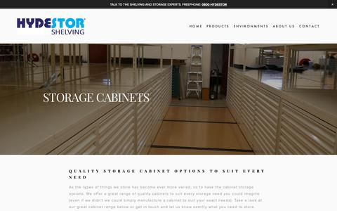 Screenshot of Products Page hydestor.co.nz - Cabinets — Hydestor Shelving - captured Dec. 16, 2018