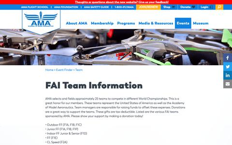 Screenshot of Team Page modelaircraft.org - FAI Team Information | Academy of Model Aeronautics - captured Oct. 1, 2018