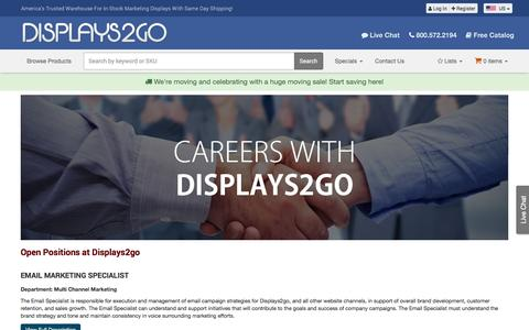 Screenshot of Jobs Page displays2go.com - Job Openings at Displays2go - captured March 19, 2017