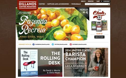 Screenshot of Home Page dillanos.com - Dillanos Coffee Roasters - captured Oct. 5, 2014