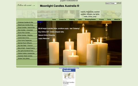 Screenshot of Home Page moonlightcandles.com.au - Candle, Scented Candles Online Shop. Moonlight Candles Australia. - captured Oct. 7, 2014