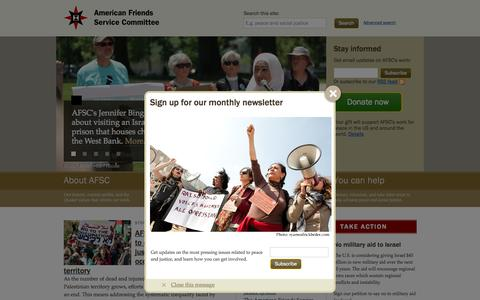 Screenshot of Home Page afsc.org - AFSC @afsc_org   Quaker values in action - captured Oct. 14, 2015