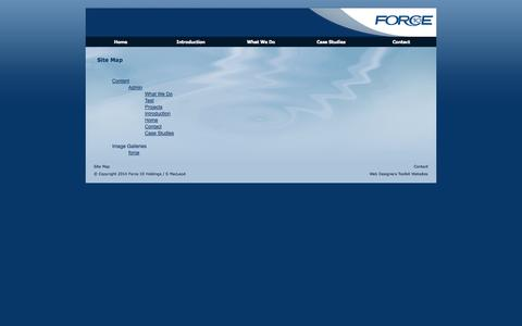 Screenshot of Site Map Page f10marketing.com - Site Map : Force 10 Marketing - captured Oct. 6, 2014