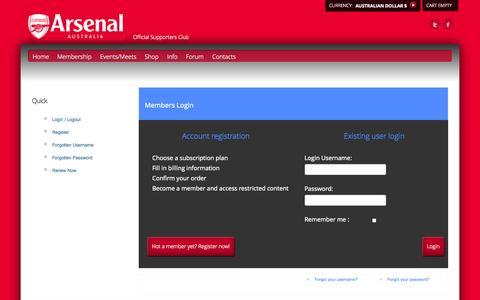 Screenshot of Login Page arsenalaustralia.com.au - Arsenal Australia - Login / Logout - captured Sept. 30, 2014