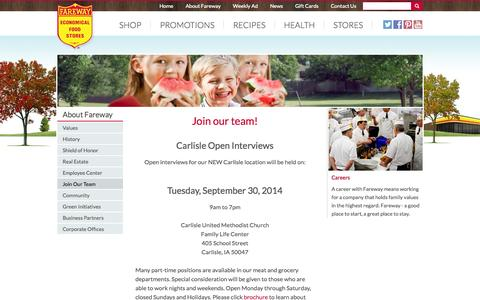 Screenshot of Jobs Page fareway.com - Join Our Team - captured Sept. 19, 2014