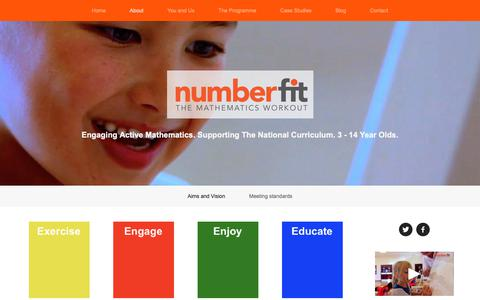 Screenshot of About Page numberfit.com - Aims and Vision — numberfit - captured Oct. 20, 2018