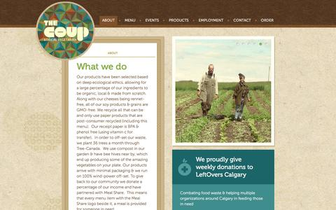 Screenshot of About Page thecoup.ca - Our Food & Suppliers | The Coup - Ethical Vegetarian - captured Dec. 10, 2019