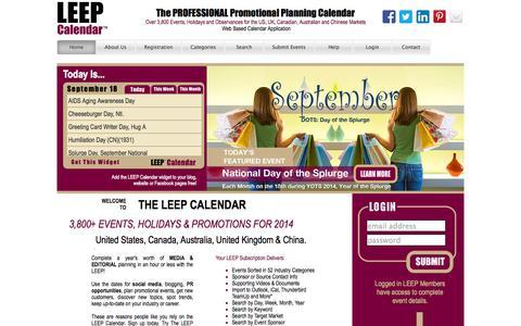 Screenshot of Home Page leepbook.com - Leep Calendar - captured Sept. 19, 2014