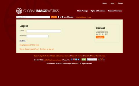 Screenshot of Login Page globalimageworks.com - Stock Footage, Research, Rights and Clearances | Global ImageWorks - captured Sept. 30, 2014