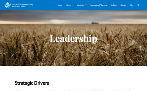 Screenshot of Team Page cmacan.org - Leadership | The Christian and Missionary Alliance in Canada - captured Sept. 24, 2018