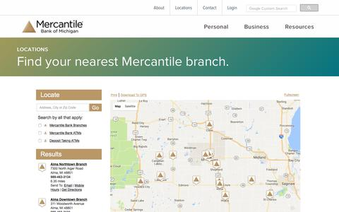 Screenshot of Locations Page mercbank.com - Locations | Mercantile Bank of Michigan | Grand Rapids, MI - captured Oct. 4, 2017
