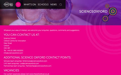 Screenshot of Contact Page scienceoxford.com - Science Oxford Contact - Science Oxford - captured May 28, 2017