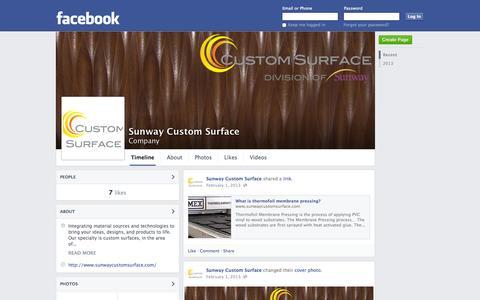 Screenshot of Facebook Page facebook.com - Sunway Custom Surface | Facebook - captured Oct. 25, 2014