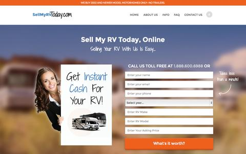 Screenshot of Home Page sellmyrvtoday.com - Sell My RV Motorhome Online For Cash : Sell My RV Today - captured Sept. 5, 2015