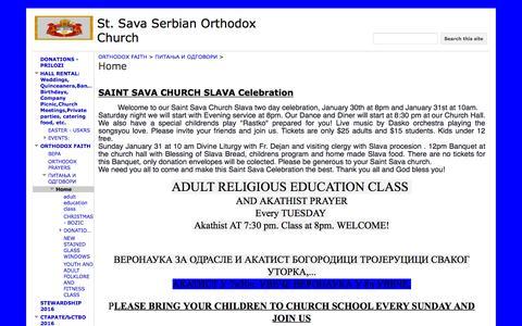 Screenshot of Home Page stsavahouston.org - St. Sava Serbian Orthodox Church - captured Feb. 17, 2016
