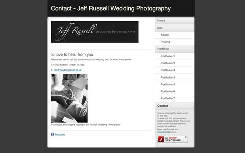 Screenshot of Contact Page jrweddingphoto.co.uk - Contact - Jeff Russell Wedding Photography - captured Oct. 13, 2018
