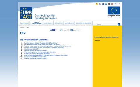 Screenshot of FAQ Page urbact.eu - FAQ - captured Sept. 22, 2014