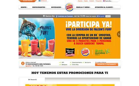 Screenshot of Home Page burgerkingpr.com - BURGER KING® Puerto Rico - captured Oct. 1, 2014