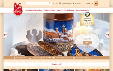 Screenshot of Home Page lebkuchen-schmidt.com - Lebkuchen Schmidt | Original Nürnberger Lebkuchen purchase online - captured Sept. 17, 2016