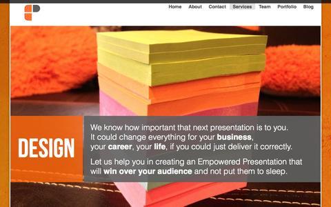 Screenshot of Services Page empoweredpresentations.com - Presentation Services - Design, Consulting, Webinars, Workshops - captured Oct. 2, 2014