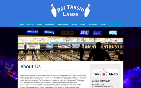 Screenshot of About Page tarsiolanes.com - Tarsio Lanes Newburgh NY - High energy bowling entertainment experience! - About Us - captured Oct. 9, 2014