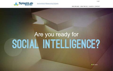Screenshot of Home Page splashlabsocial.com - SplashLab Social | High Performance Social Media Solutions - captured Oct. 1, 2014