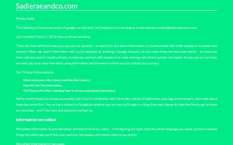 Screenshot of Privacy Page sadieraeandco.com - Contact. Page on Contactsadieraeandco.com - captured Oct. 25, 2018