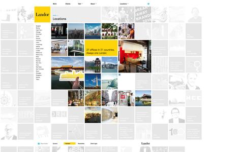 Screenshot of Locations Page branding.com - Landor Associates - captured Oct. 25, 2014
