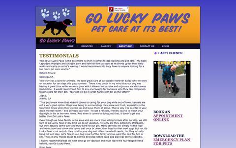 Screenshot of Testimonials Page goluckypaws.com - Go Lucky Paws: Testimonials - captured Dec. 8, 2018